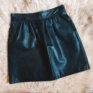 Tibi Leather Mini Skirt